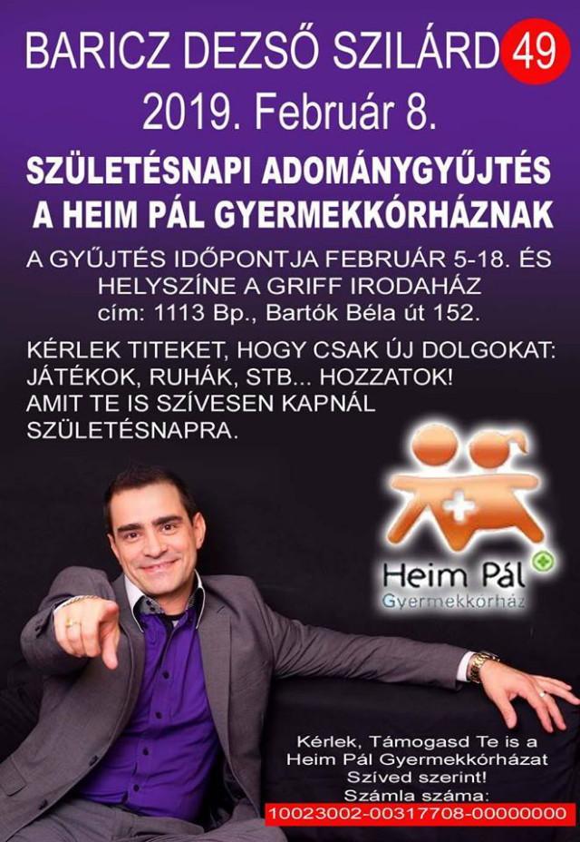Baricz Dezső - Születésnapi adománygyűjtés