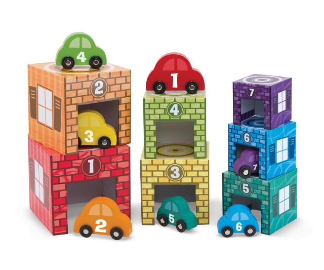Melissa & Doug játékok - Fa parkolóház és autók