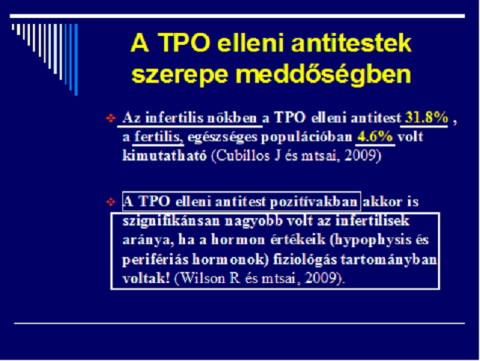 A TPO elleni antitestek szerepe meddőségben