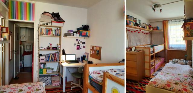 félszoba, ahol 3 gyerek tanul és alszik