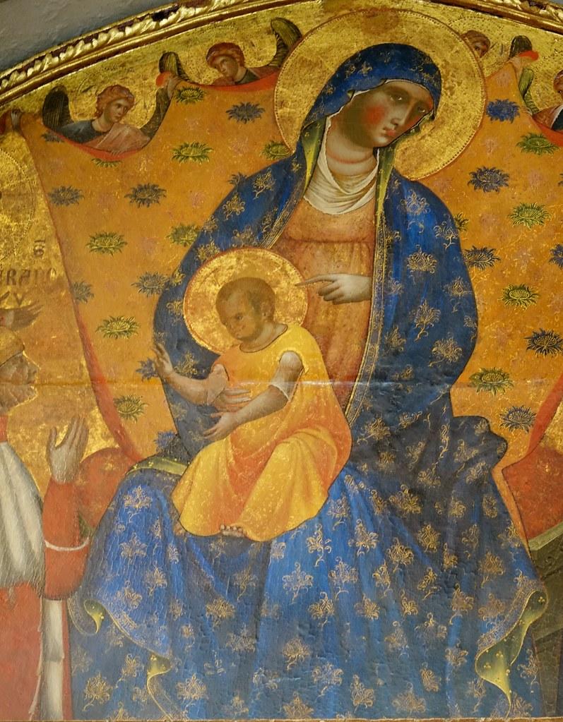 Paolo Veneziano: Madonna a Gyermekkel, szentekkel és a dózséval
