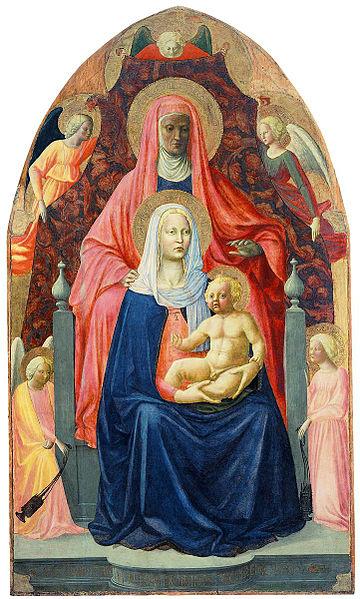 Masaccio és Masolino da Panicale: Szt. Anna, Szűz Mária, Kisjézus